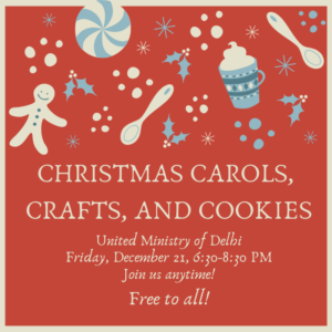 Please join us for Christmas carols, cookies, and ornament decorating on Friday, Dec. 21, 6:30-8:30 pm